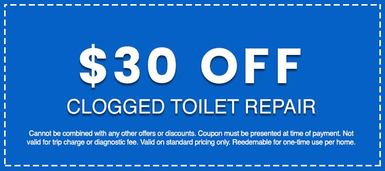Discounts on Clogged Toilet Repair